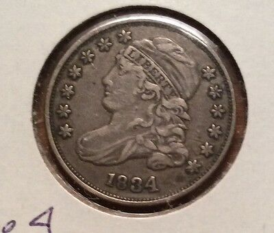 1834 CAPPED BUST DIME.  Large 4 Plus Very Rare Variety Circulated