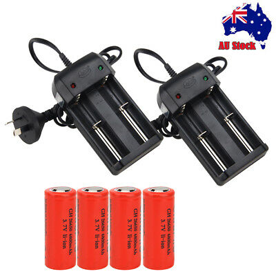 4/2x 26650 6800mAh Li-ion Rechargeable Battery+AU Charger for Flashlight Light