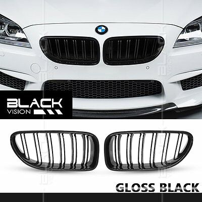 Gloss Black Twin Dual Slat Fin Front Mesh Grille for BMW 6 series F06 F12 F13 M6
