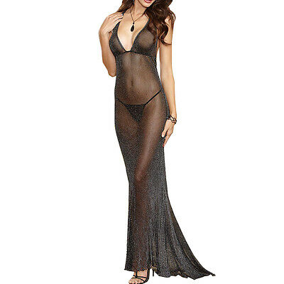 Sexy/sissy Women Lingerie Underwear Sleepwear Flicker Chemise Long Robe Uk Store