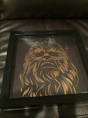 Star Wars Chewbacca Framed Metallic Gold Foil Print 10x10 Inches Artissimo