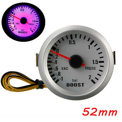 2'' 52mm 12V Auto LED Turbo Boost Gauge Manometro Scartamento Di Vuoto  -1~2Bar