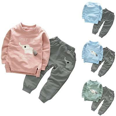 2PCS Toddler Baby Kids Warm Long Sleeve T-Shirt+Pants Boys Girls Outfits Clothes