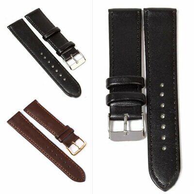 12-24 mm Leather Watch Strap Band Women Mens Stainless Steel Buckle Replacement