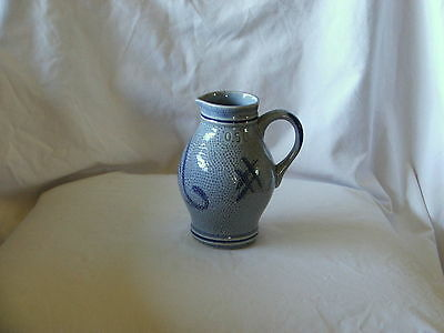 Antique European Blue Pottery Ceramic Jug By M.G.A. German, Italian, Denmark??