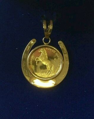 Singapore 1990 Gold 1/20 oz 5 Singold Lunar Series Horse Set in 14K Pendant