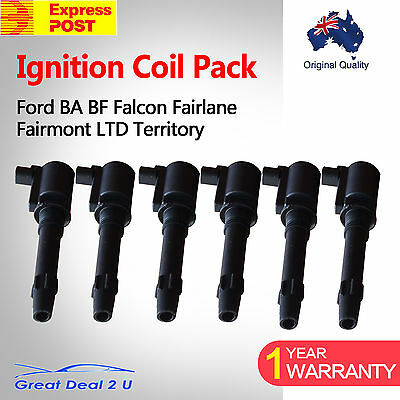 6 Ignition Coils Pack BA BF Ford Falcon Fairlane Fairmont LTD Territory Express