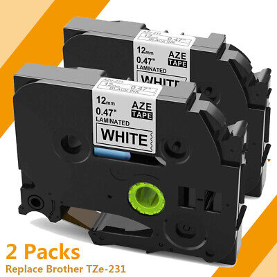 2 PK TZe231 Label Tape Compatible for Brother P-Touch TZ231 12mm Black on White