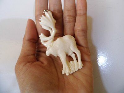 Pendant Necklace MOOSE From Buffalo Bone Carved with Silver 925_b91