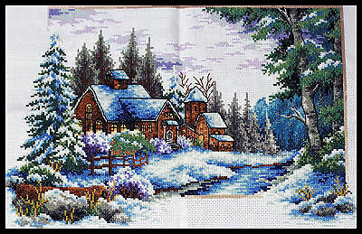 New~Finished Completed Cross Stitch -The winter house~ Sale