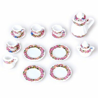 15pcs Doll House Miniature Porcelain Tea Set Dish+Cup+Plate - SH