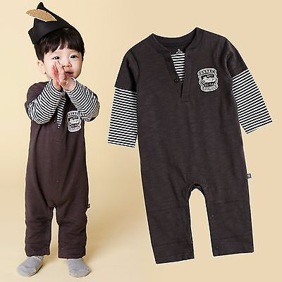 "Vaenait Baby Boys Clothes One Piece Long Bodysuit Stripe""Black Rider"" 10-24M"