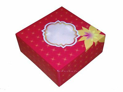 "50 Red Large 8"" x 8"" x 3"" Cake Box with Window"