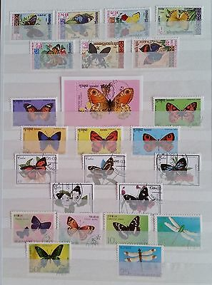 Stamps BUTTERFLIES:  42 varied thematic items