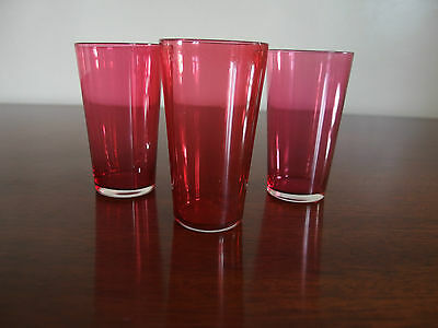Three Victorian Cranberry Glass Beakers.