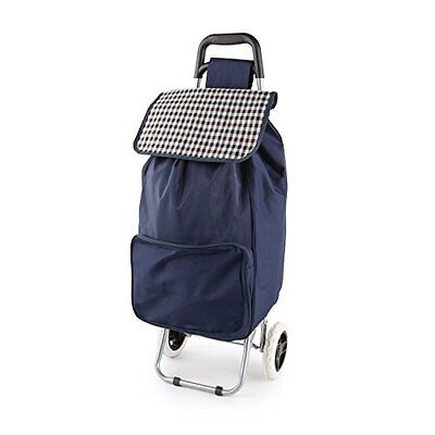 Large Folding Wheeled Funky Shopping Trolley - Strong, Waterproof & Light Navy