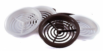 50 x 70mm Brown Or White Plastic Round Soffit Air Vents