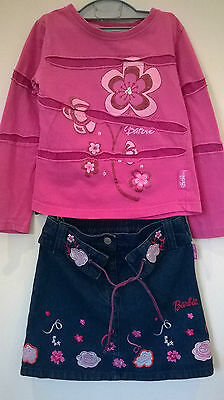 Barbi Aged 5-6 years Girls 2 piece denim embroidered skirt and top outfit
