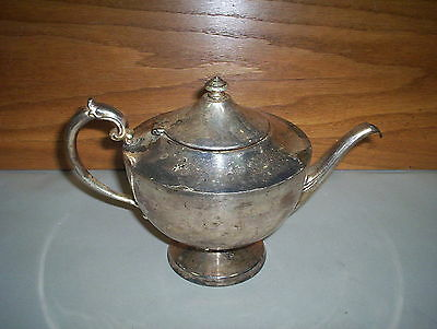 "Antique Silver Plated Copper Tea Pot (marked ""175"" On Bottom) : (7"" Tall Appx)"