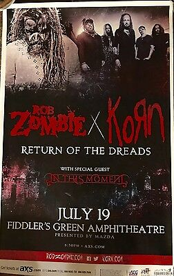 Rob Zombie & Korn In This Moment 2016 11x17 Tour Poster HEAVY CARD STOCK POSTER!