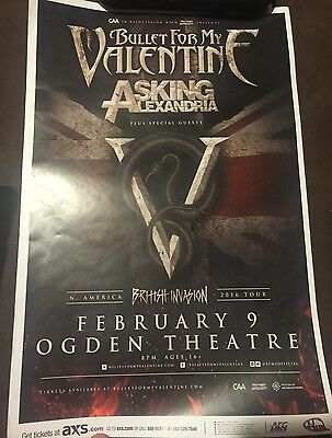Bullet For My Valentine 2015 Tour Poster Denver Co 11x17 HEAVY CARD STOCK POSTER