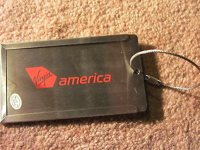 Virgin America Metal Bag Tag Brand New Airline Space For Business Card