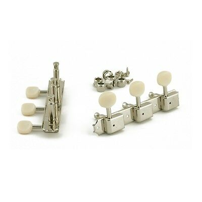 Kluson 3 On A Plate Tuners Nickel - Oval Plastic Button