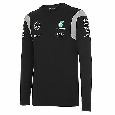 2016 OFFICIAL F1 Mercedes AMG Team T-shirt Long Sleeve Top Hamilton BLACK - NEW