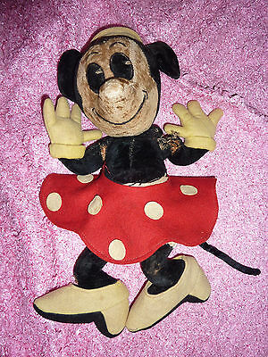 "Very Rare Vintage Mickey Minnie Mouse with Tail Disney Straw filled 12"" Felt wow"