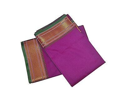 Violet Dhoti With Shawl In Pure Silk Golden Border