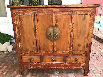 Antique Chinese Cabinet-2 Door and 3 Drawers