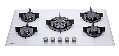 MILLAR GH9051PW 5 Burner Built-in White Gas on Glass Hob 90cm-Cast Iron Stands