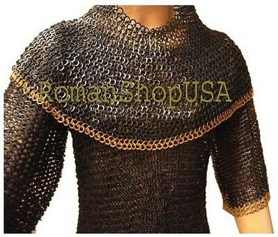 Chain Mail Shirt Flat Riveted Flat Solid Chain Mail Hauberk & Coif Brass Riveted