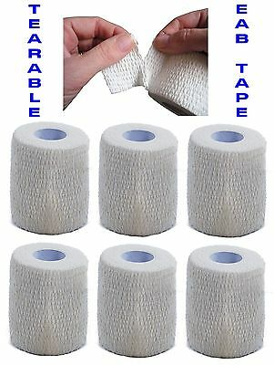 6 rolls of Tearable White EAB 7.5cm x 6.9m Line Out Rugby Elastic Adhesive Tape