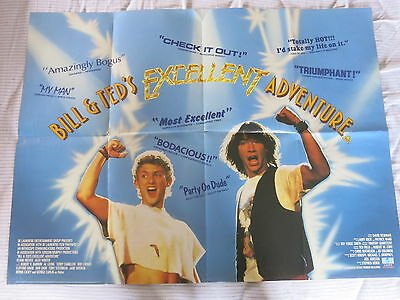 BILL AND TED'S EXCELLENT ADVENTURE 1989 Original UK Quad Film Poster KEANU