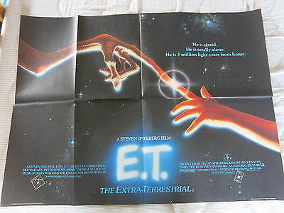 E.T THE EXTRA TERRESTRIAL 1982 Original UK Quad Film Poster STEPHEN SPIELBERG