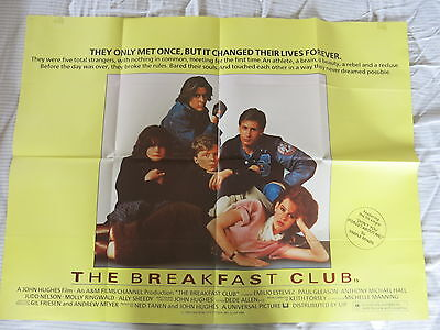 THE BREAKFAST CLUB Original UK Quad Film Poster JOHN HUGHES 1985 MOLLY RINGWALD