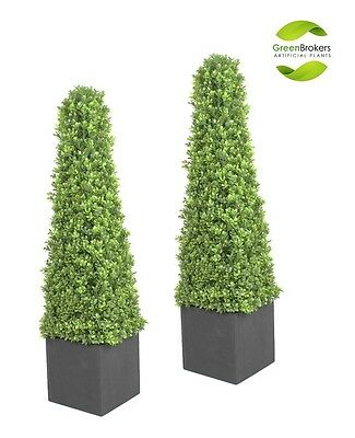 2 x Artificial Pyramid Boxwood (Buxus) Trees in Black Planter (3ft)