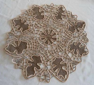 Vintage Fancy Needle Lace Center Doily Ecru Padded Satin Stitch 12""