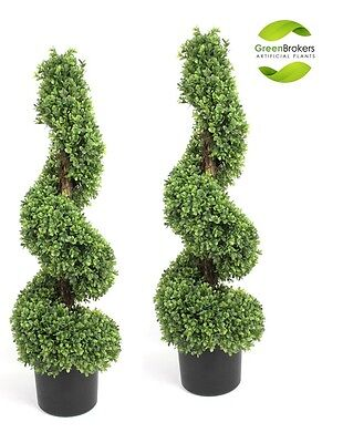 2 x Artificial Spiral Boxwood (Buxus) Trees with Wooden Stem (3ft)