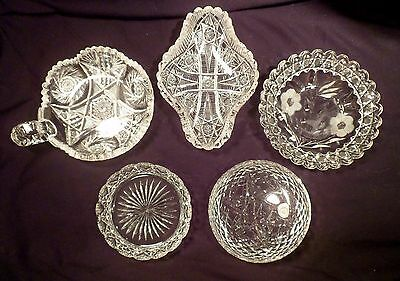 Collection of 5 American Brilliant Period Antique Cut Crystal Dishes, Trinket
