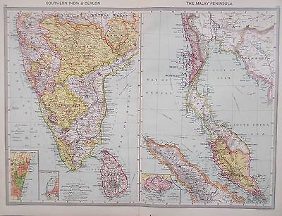 Map of Southern India & Malay Peninsula. 1905. ASiA. Original