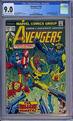 Marvel AVENGERS #144 CGC 9.0 - VF/NM OW/WP  First Patsy Walker Hellcat 1977