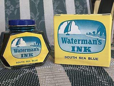 Vintage Waterman's Ink 2 oz. South Sea Blue New Old Stock Excellent Condition!