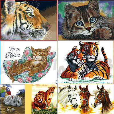 Counted Cross Stitch Kits New Tiger Giraffe Animals 14 Count Home x Embroidery