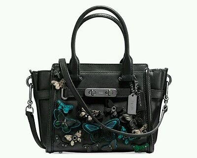 NWT COACH Butterfly Applique Swagger 21 Black Leather Satchel 37912 MSRP $495