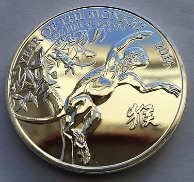 2016 Royal Mint Lunar Year of the Monkey 1oz .999 Fine Silver LOW MINTAGE RARE