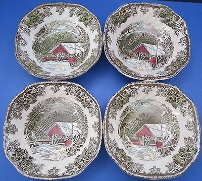 VTG Johnson Bros Friendly Village ENGLAND 4pc Square Cereal Bowls Covered Bridge