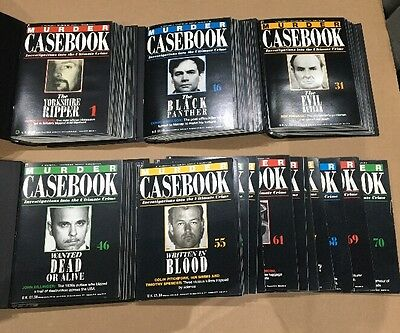 Murder Casebook Magazines issues 1 - 70 And 4 Binders