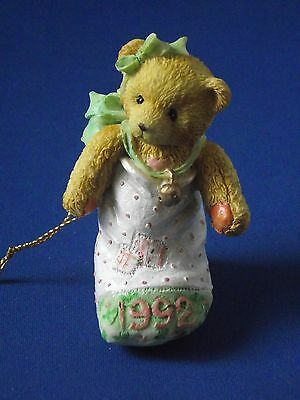 Cherished Teddies 1992 Dated Teddy in Stocking Christmas Tree Ornament Green